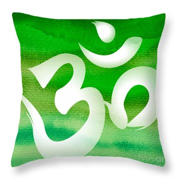 Om Symbol. Green Throw Pillow