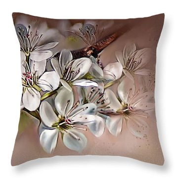 Throw Pillow featuring the painting Oriental Pear Blossom by Bonnie Willis