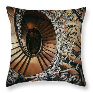 Throw Pillow featuring the photograph Ornamented Spiral Staircase by Jaroslaw Blaminsky