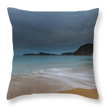 Overcast Cloudy Sunrise Seascape Throw Pillow