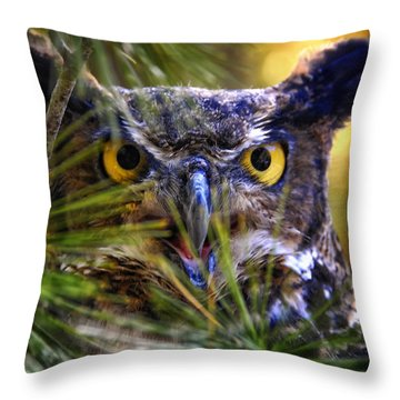 Owl In The Pines Throw Pillow