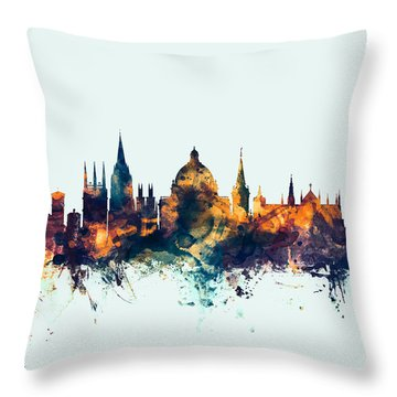 Oxford England Skyline Throw Pillow by Michael Tompsett