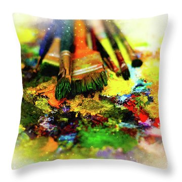 Paint Brushes To The Painting Palette And Softly Blurred Watercolor Background. Throw Pillow