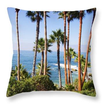 Palms And Seashore, California Coast Throw Pillow