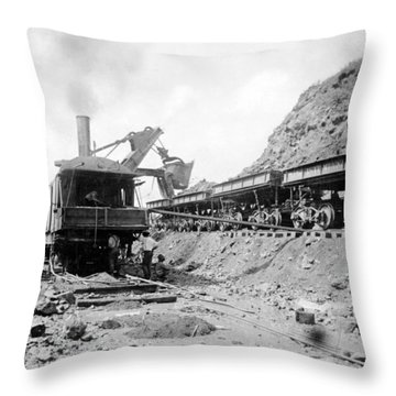 Panama Canal - Construction - C 1910 Throw Pillow by International  Images