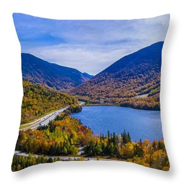Panoramic View Of Franconia Notch. Throw Pillow