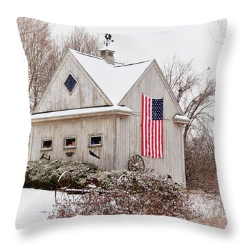 Patriotic Barn Throw Pillow by Tricia Marchlik