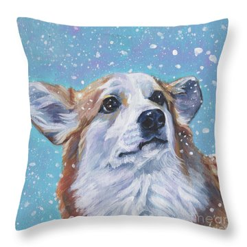 Throw Pillow featuring the painting Pembroke Welsh Corgi by Lee Ann Shepard