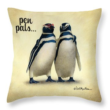 Throw Pillow featuring the painting Pen Pals... by Will Bullas