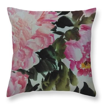 Throw Pillow featuring the painting Peoney20161229_6 by Dongling Sun