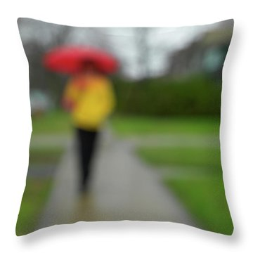 People In The Rain Throw Pillow by Oleksiy Maksymenko