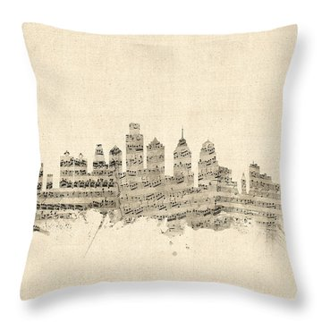 Philadelphia Pennsylvania Skyline Sheet Music Cityscape Throw Pillow