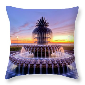 Pineapple Fountain Charleston Sc Sunrise Throw Pillow
