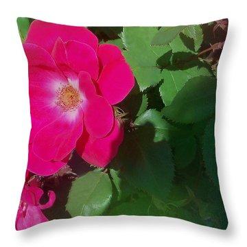 Pinkrose Throw Pillow by Eileen Blair
