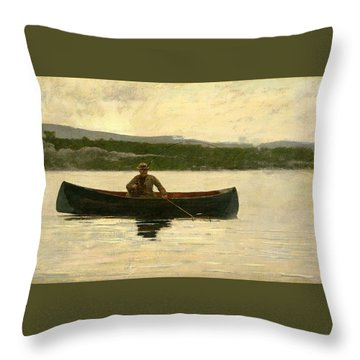 Throw Pillow featuring the painting Playing A Fish by Winslow Homer