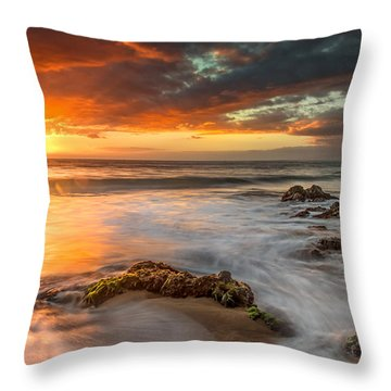Poolenalena Sunset Throw Pillow by James Roemmling