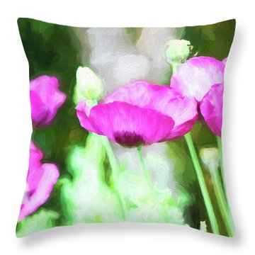 Throw Pillow featuring the painting Poppies by Bonnie Bruno