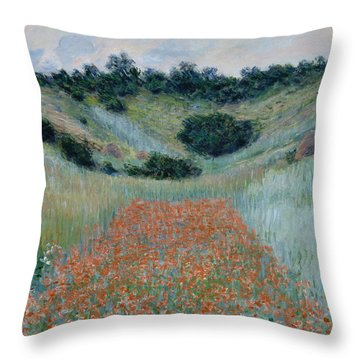 Poppy Field In A Hollow Near Giverny Throw Pillow