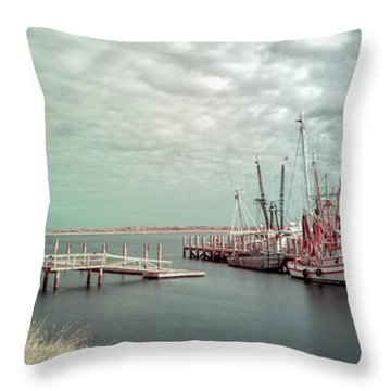 Port Royal Shrimp Boats Throw Pillow