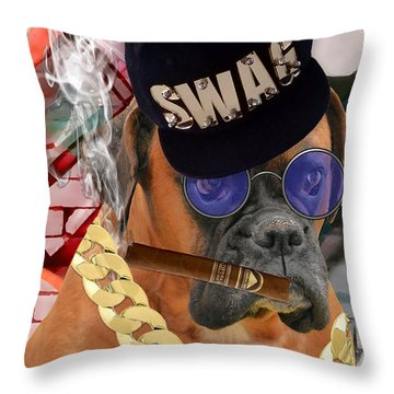 Throw Pillow featuring the mixed media Power by Marvin Blaine