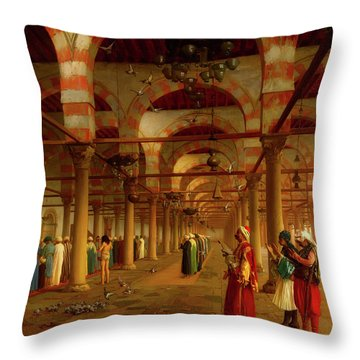 Throw Pillow featuring the painting Prayer In The Mosque by Jean-Leon Gerome