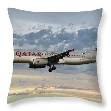 Qatar Airways Airbus A320-232 Throw Pillow
