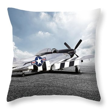 Throw Pillow featuring the digital art Quick Silver P-51 by Peter Chilelli