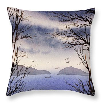 Throw Pillow featuring the painting Quiet Shore by James Williamson