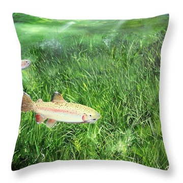 Throw Pillow featuring the painting Rainbow Trout by Ken Ahlering