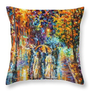 Rainy Evening Throw Pillow by Leonid Afremov
