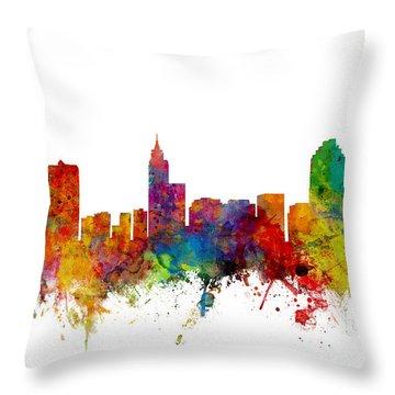 Raleigh North Carolina Skyline Throw Pillow by Michael Tompsett