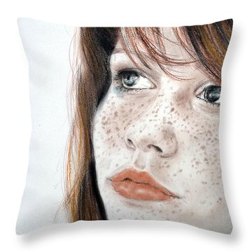 Red Hair And Freckled Beauty Throw Pillow