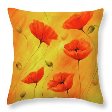 Red Poppy On Orange Background. Red Poppies. Red Flower On Abstract Color Background Throw Pillow