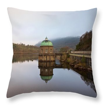 Reflections Of Foel Tower Throw Pillow