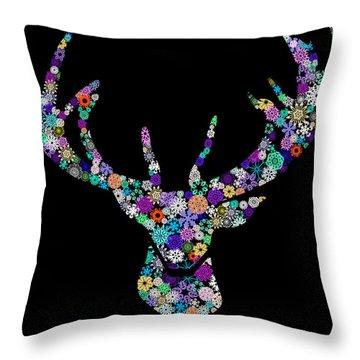 Reindeer Design By Snowflakes Throw Pillow by Setsiri Silapasuwanchai