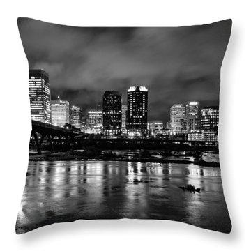 Richmond Skyline At Night Throw Pillow