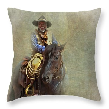 Throw Pillow featuring the photograph Ride Em Cowboy by David and Carol Kelly