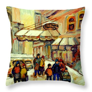Ritz Carlton Montreal Streetscene Throw Pillow by Carole Spandau