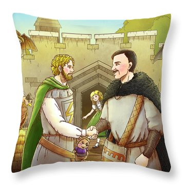 Robin Hood And The Captain Of The Guard Throw Pillow