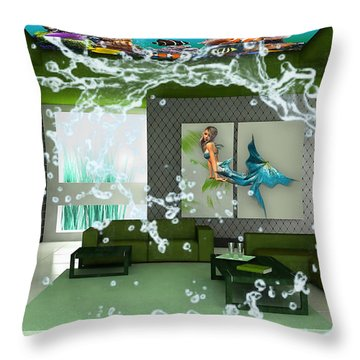 Rooftop Saltwater Fish Tank Art Throw Pillow by Marvin Blaine