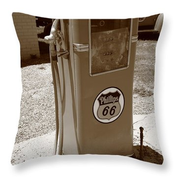 Route 66 Gas Pump Throw Pillow by Frank Romeo