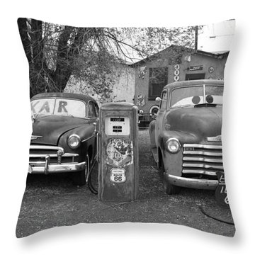 Route 66 - Snow Cap Drive-in Throw Pillow by Frank Romeo