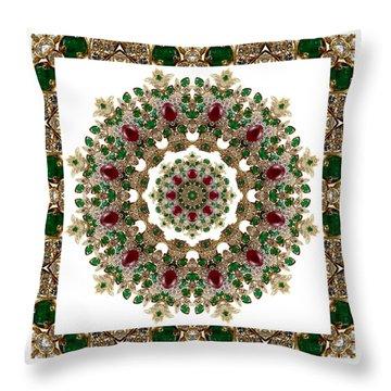 Ruby And Emerald Kaleidoscope Throw Pillow
