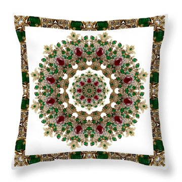 Ruby And Emerald Kaleidoscope Throw Pillow