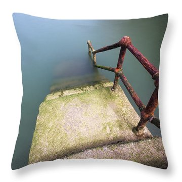 Rusty Handrail Going Down On Water Throw Pillow