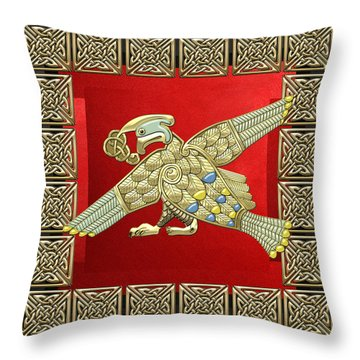 Sacred Celtic Bird On Red And Black Throw Pillow