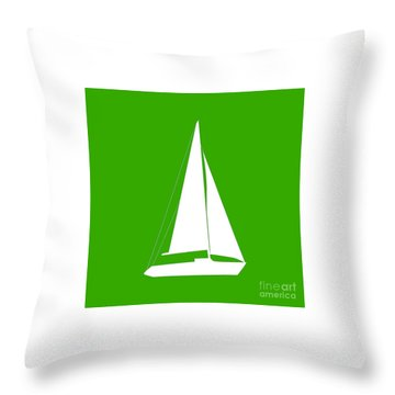 Sailboat In Green And White Throw Pillow