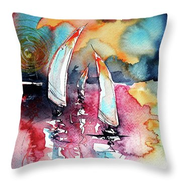Sailboats Throw Pillow by Kovacs Anna Brigitta