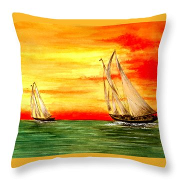 2 Sailboats Throw Pillow by Michael Vigliotti