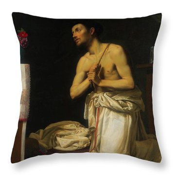 Throw Pillow featuring the painting Saint Dominic In Penitence by Filippo Tarchiani